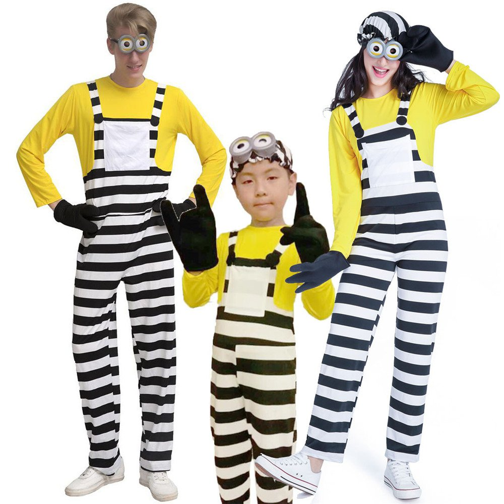 3PCS Halloween Despicable Me Minions Fancy Dress For Parent-child Outfit Anime Cosplay Party Costume