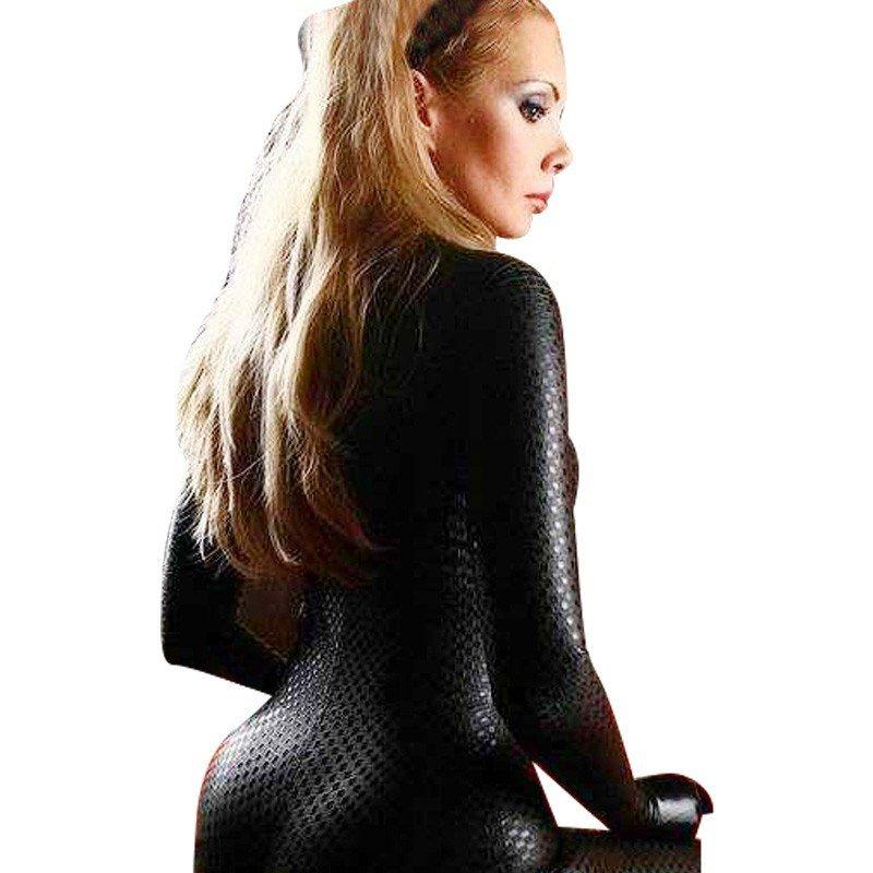 Plus Size XL-4XL Classic Fetish Catsuit Sexy Long sleeve PVC Jumpsuit