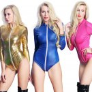 Sexy Motorcycle Bodysuits Long Zipper Ladies Catwoman Cosplay Costume PVC Catsuit
