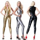 Plus Size Sexy Open Crotch AV Costumes Leather Onesies Japanese Sleeveless Catsuit