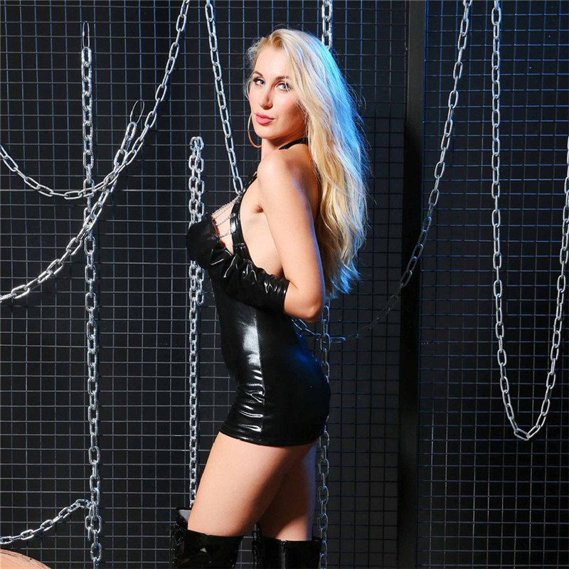 Nightclub Fetish Dresses WetLook Leather Game Clothes PVC Chest Hollow Sexy Lingerie Costumes