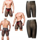 Men Fetish Shorts Mesh Patchwork Slim Boxer Ultra-thin Transparent Plus Size Male Underpants