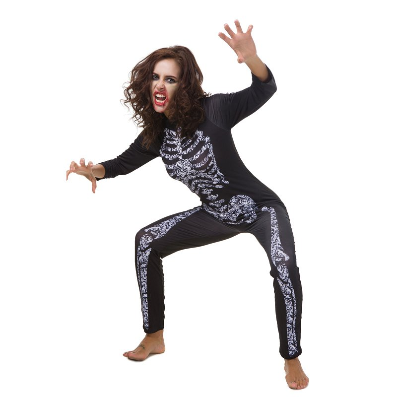 Halloween Melbourne Zombie Festival Skeleton Catsuit Horror Cosplay Bloodsucker Costumes Jumpsuit