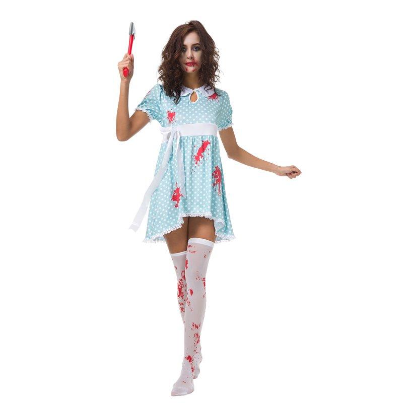 Melbourne Zombie Festival Blood Doll Costume Halloween COS Vampire Women Polka Dot Costume