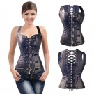 Steampunk Corset Steel Bone Fetish Corselet Faux Leather Back Lace-up Shapewear for Women