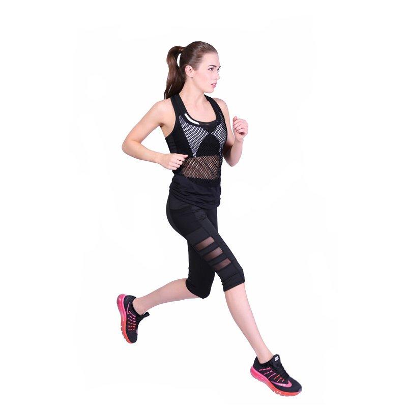 Quick-drying Yoga Cropped Trousers High Waist Sports Leggings Side Pocket Fitness Capri Pants