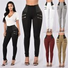 4 Zippers Stitching Hip Lifting Women's Trousers High Waist Casual Pants