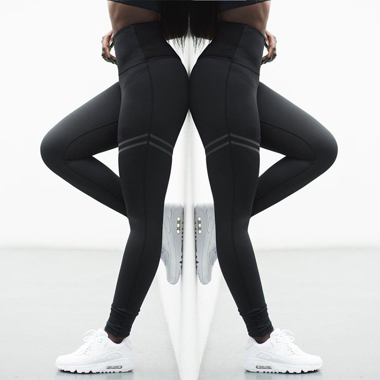 High Waist Solid Color Cross-border Striped Stretch Yoga Pants Fitness Leggings Capris