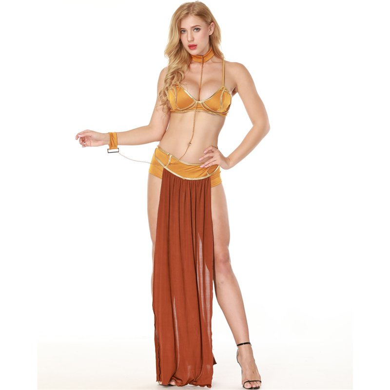 Arabian Long Dress Erotic Skirt Ladies Sexy Lingerie Set Halloween Ball Queen Costume