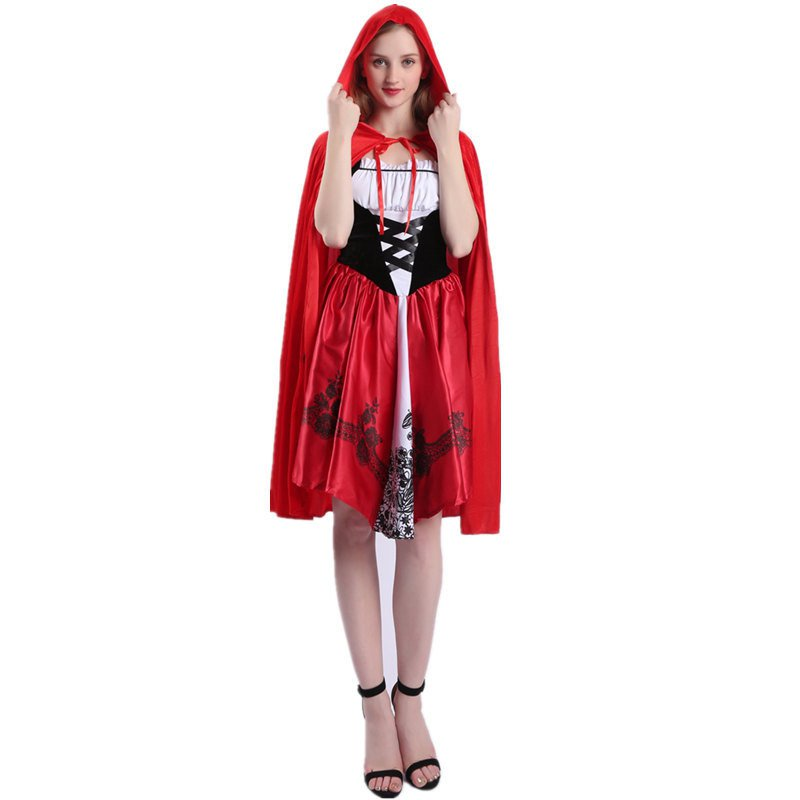 Women Stage Play Cosplay Fancy Dress Halloween Little Red Riding Hood Costume
