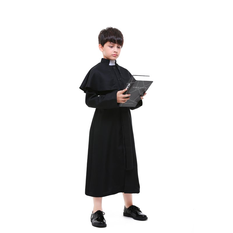 Halloween Choir Costume Child Church Priest Role Play Cosplay Priest Costumes for Kid