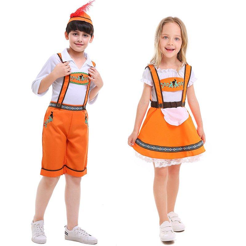 New Children's orange Ethnic Traditional Clothing German Oktoberfest Costume