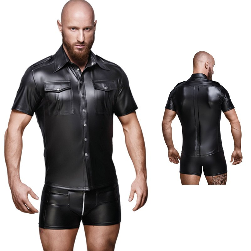 Men's Sexy Patent Leather Shirt Tight-fitting Short-sleeved Coat Stage Nightclub Costumes