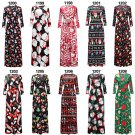 2018 Christmas Dress Xmas Casual Skirt Printing Long Sleeve Maxi Dresses