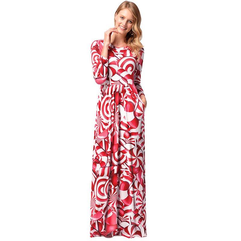 2018 Lollipop Printing Christmas Long Dress Xmas Casual Streetwear Candy Costume Maxi Dresses