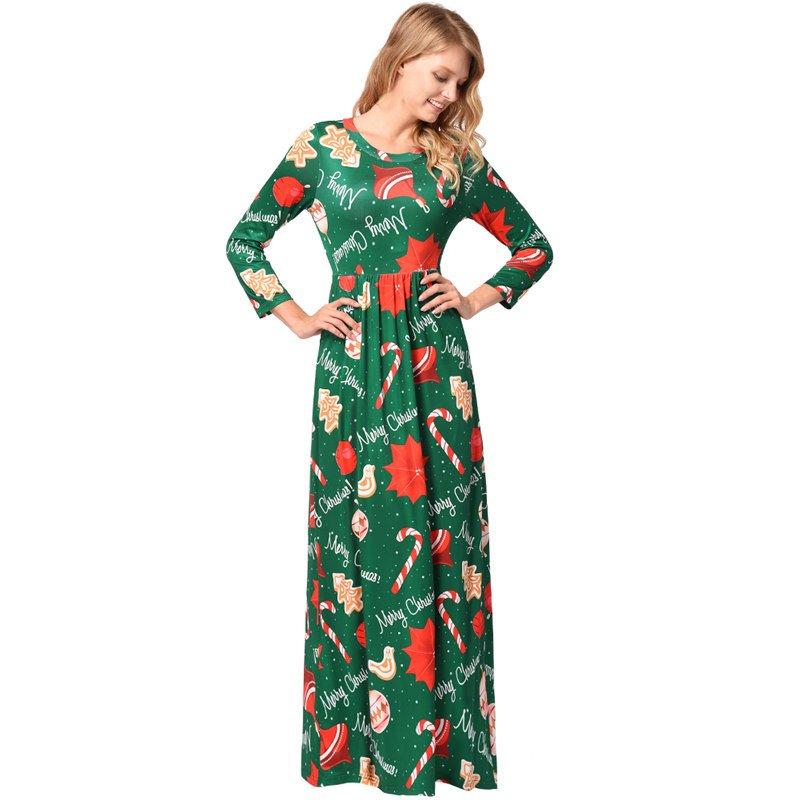 Merry Christmas Green Pine Printing Maxi Dresses Xmas Casual Streetwear