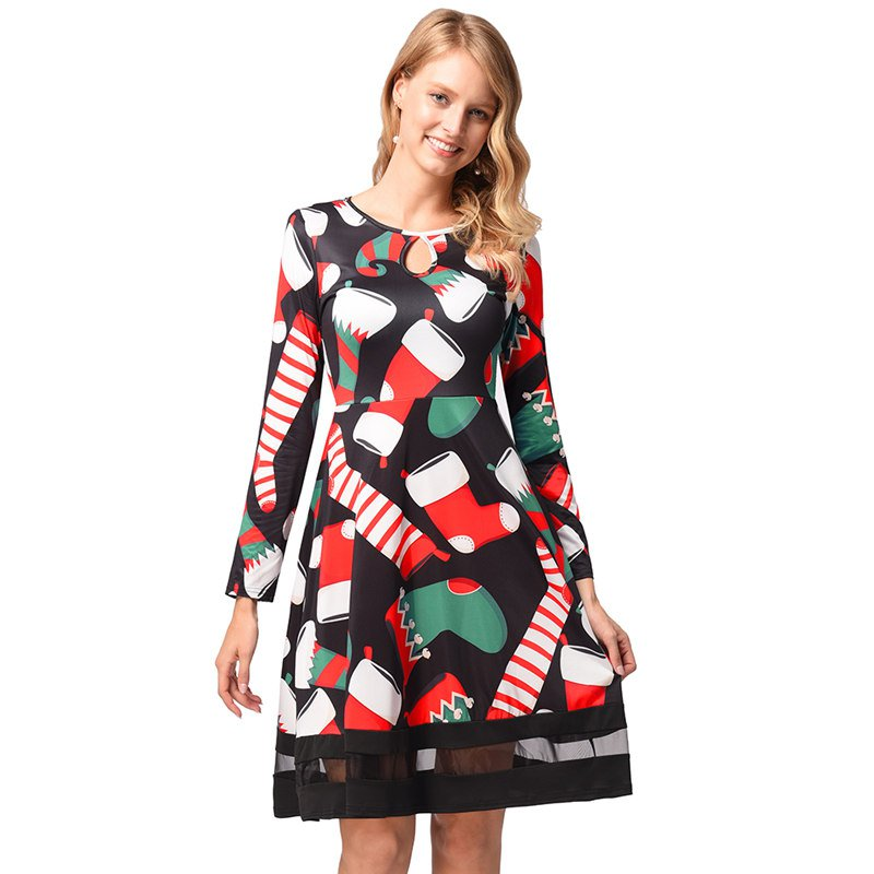 Christmas Socks Print Mini Dress 2018 Autumn Winter Long Sleeve Women's Streetwear
