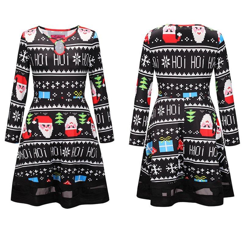 2018 Xmas Cartoon Santa Claus Fashion Dress Streetwear Christmas Winter Clubwear