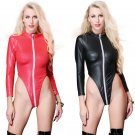 Red Fetish Bodysuits Long Zipper Ladies PVC Catsuit Sexy Catwoman Costume