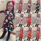 10 Designs Christmas Dress Children Wear Long Sleeve Cartoon Xmas Winter Costume Girl Princess Dress