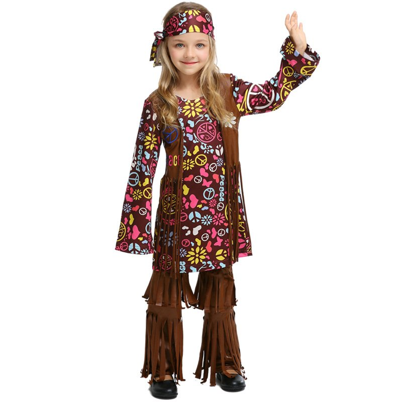 Children Halloween Party Costumes Hip-hop Suits COS Clothing Indian Savage Indigenous Tribe Costumes