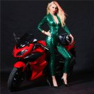 Motorcycle Game Suit Fish Scale Bodysuit Patent Leather Night Club Car Model Clothing