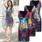 Purple Fashion Sequin Party Dress Sexy Bling Bling Night Clubwear for Women