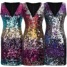 Plus Size Sexy V-neck Sequin Streetwear Cocktail Dress Celebrity Party Dress Nightclub Skirt