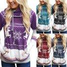 Christmas Sweatshirts Women Pullover Hoodies Printed Finger Pocket Novelty Hooded Sweater