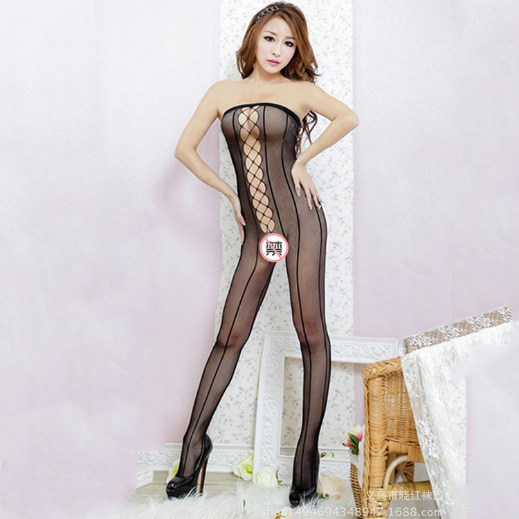 Black Hollow Out Erotic Body Stockings Off Shoulder Sexy Night Clubwear Open Crotch Lingerie