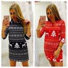 Winter Christmas Streetwear Long Sleeve Plue Size 2XL Xmas Tree Print Casual Mini Dress for Women
