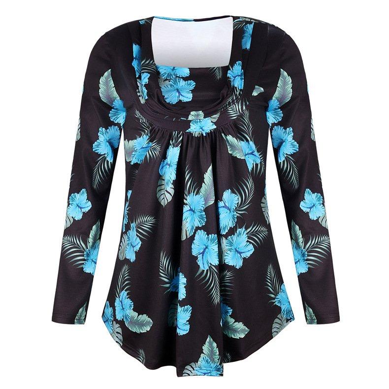 4 Colors Plue Size 4XL Spring Dresses V-neck Floral Print Autumn Casual Dress