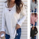4 Colors Solid Color Fashion Tops Criss-Cross Tied Loose T-shirt Autumn Women Blouse