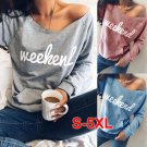 Fashion Apparel Women Clothing Irregular Neck Letter Print Spring Blouses Autumn Casual Hoodies
