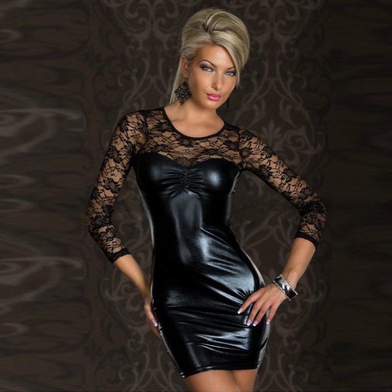 Sexy Black Faux Leather Club Dress for Women Patchwork Long Sleeve Clubwear