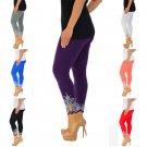 Plus Size Fashion Ladies Skinny Capris Printing Slim Casual Leggings