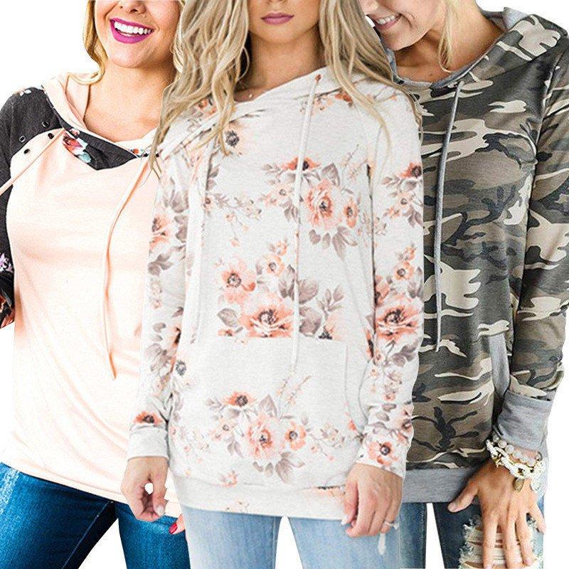 Floral Print Winter Hoodies Long Sleeve Sweater Fashion Autumn Hooded Sweatshirts