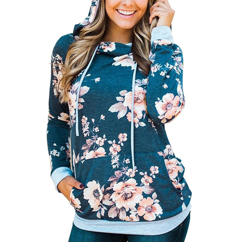 Plus Size 2XL Fashion Autumn Front Pocket Casual Hooded Sweatshirts Floral Winter Clothing Hoodies