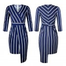 Star Street Style Dresses Autumn Slim-fit V-neck Striped Dress Spring Sheath Streetwear