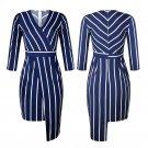 Star Street Style Dresses Autumn Slim-fit V-neck Striped Dress Spring Sheath Streetwear