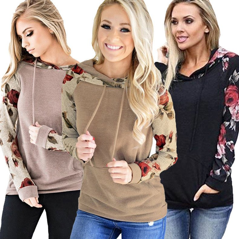 Floral Printed Casual Winter Sweatshirts Fashion Hooded Hoodies Autumn Pocket Long Sleeve Tops