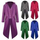 Plus Size 4XL Men Long Coat Solid Color Fashion Punk Retro Tuxedo Uniform Male Theme Costume