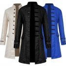 Men Winter Coat Windbreaker Steampunk Retro Male Stand Collar Jacquard Medieval Prince Costume