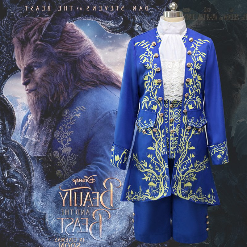 Cartoon Movie Beauty and the Beast Costume Prince Cosplay Suit Classic Medieval Fancy Dress