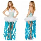 Carnival Jellyfish Women Costume V-neck Sting Cosplay Fancy Dress for Halloween