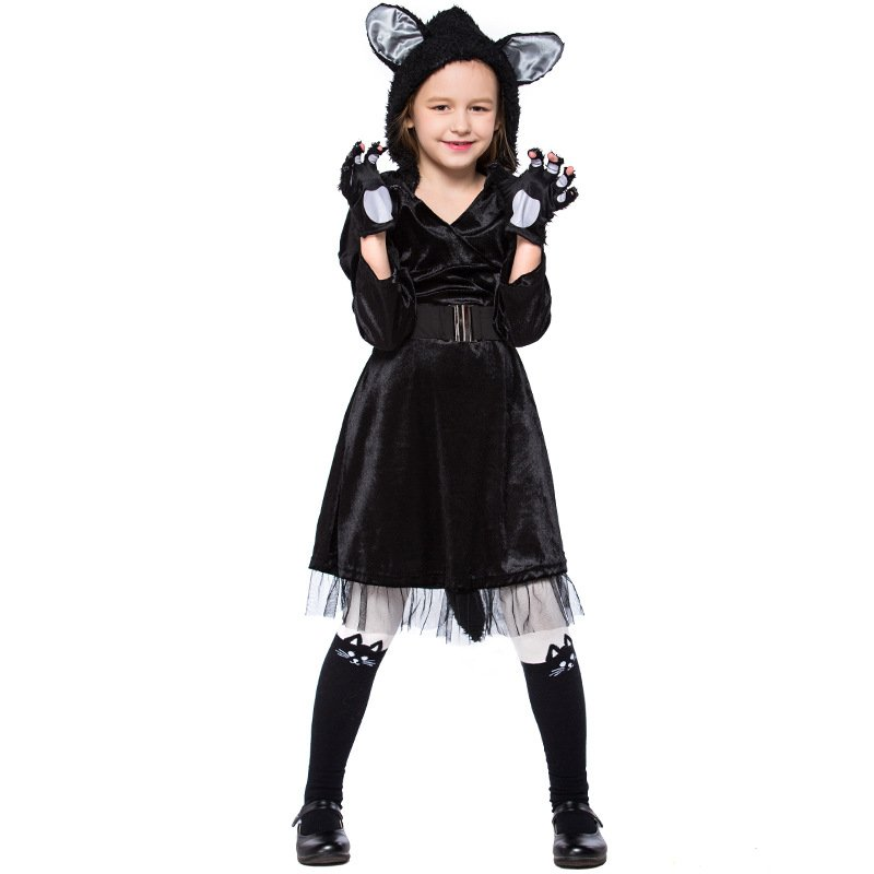 Kid Carnival Stage Black Cat Cosplay Uniform Halloween Faux Fur Outfits Animal Fancy Dress for Child