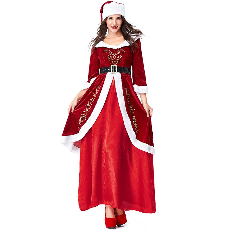 Santa Claus Party Cosplay Costume Lover Clothes Spun Velvet Christmas His-and-hers Clothing