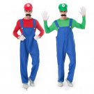 Super Mario Bros Costume Carnival Game Luigi Party Outfits Overalls Cartoon Cosplay Uniform