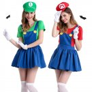 Women Super Mario Fancy Dress for Halloween Japanese Anime Luigi Cosplay Costume