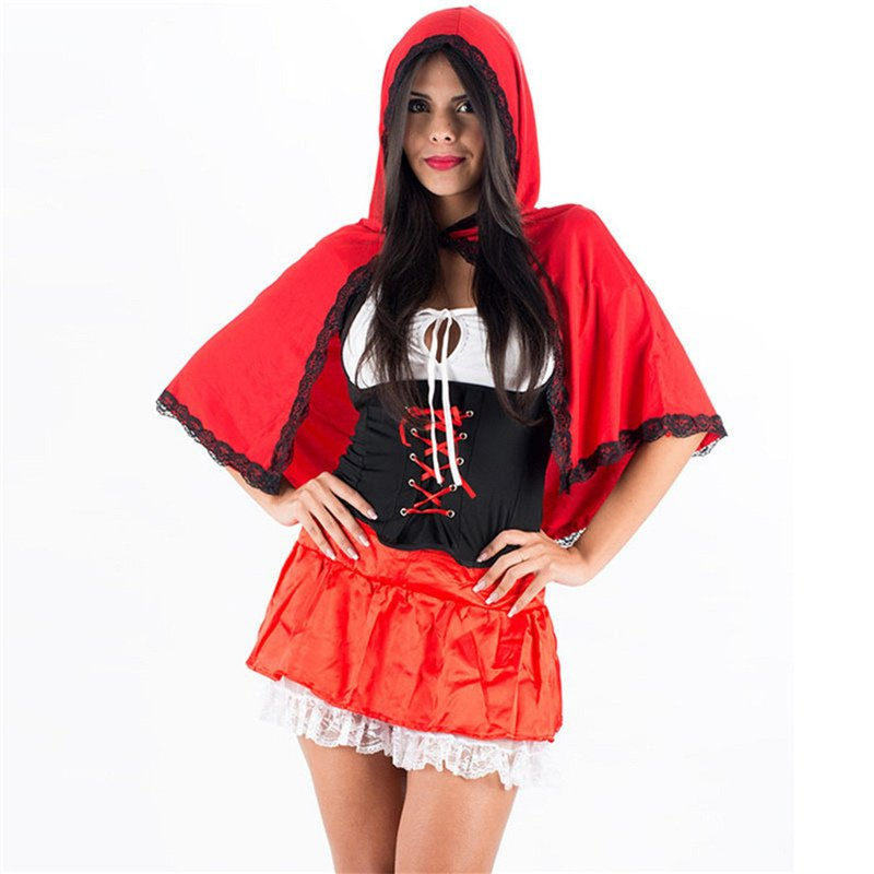 Green Fairy Tale Little Red Riding Hood Cosplay Costume for Women Masquerade Stage Show Fancy Dress